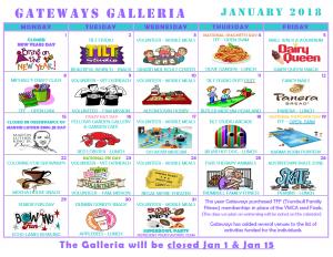 January 2018 Galleria Activity Calendar