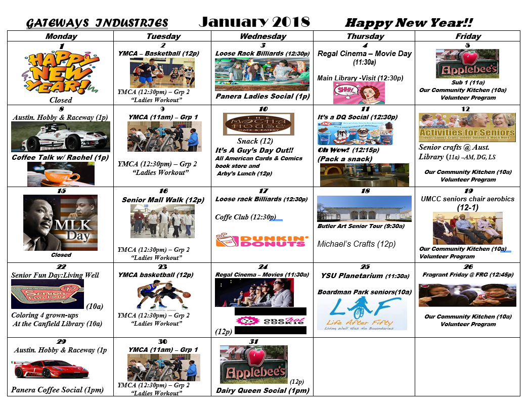 January 2018 Main Campus Activity Calendar