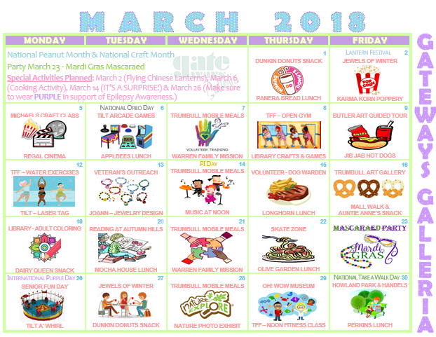 march galleria activity calendar GTBL