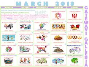 March 2018 Galleria Activity Calendar GTBL