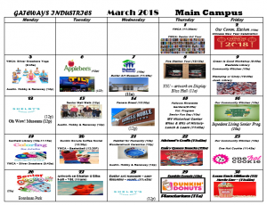 March 2018 Main Campus Activity Calendar GTBL