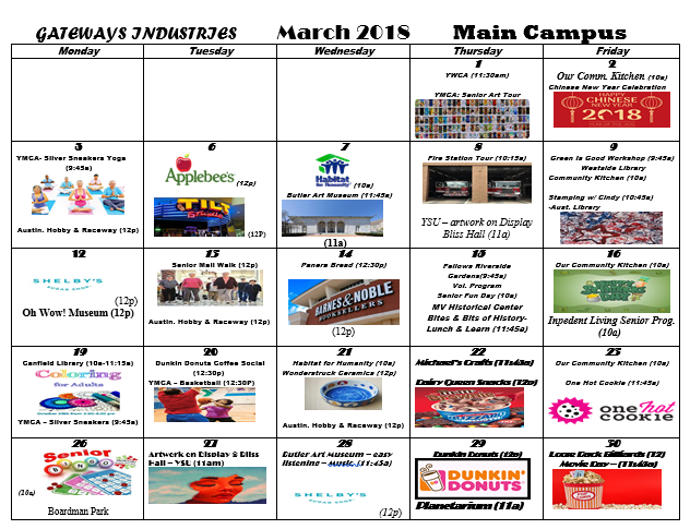 March 2018 Main Campus Activity Calendar
