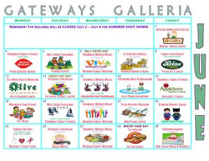 Galleria Calendar June 2018