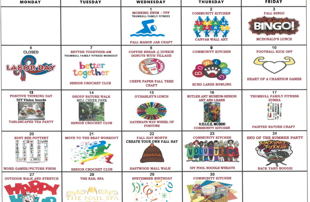 Galleria September 2021 Activity Calendar